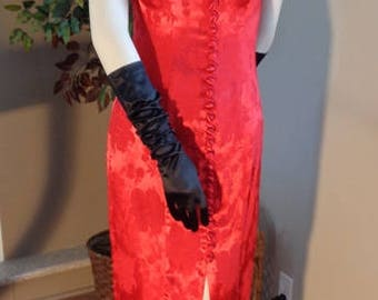 Vintage ALGO - Red Silk Brocade Asian Style Dress - Absolutely Stunning!