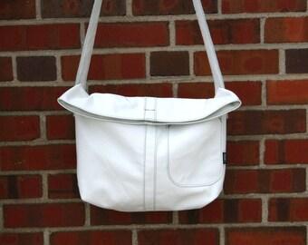 White Messenger Bag-white-wedding-ready to ship-Every Day Bag- bridesmaid gift-Leather Ba  gs-couture-cwinn design-