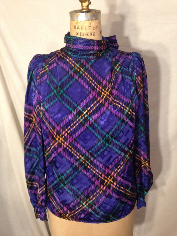 Vintage Long Sleeve Abstract Plaid Blouse By Eva Laurel Size 6