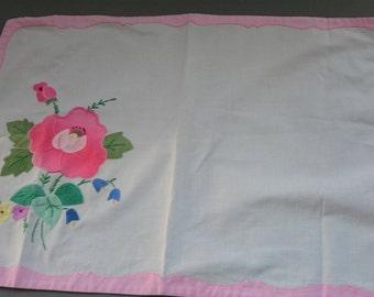 Vintage Tray Cloth Hand Sewn Applique