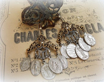 foreign exchange one of a kind vintage assemblage earrings instant collection vintage foreign holy medals mixed metals gold and silver