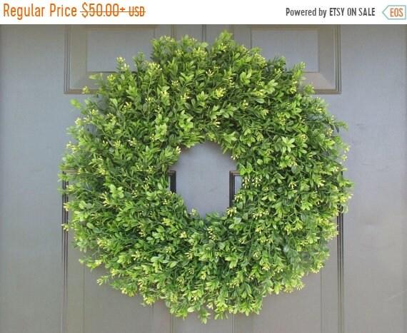 SUMMER WREATH SALE Faux Thin Artificial Boxwood Wreath, Storm Door Wreaths, Front Door Outdoor Wreath,  Ready to Ship, Door Decor, Sizes 14-