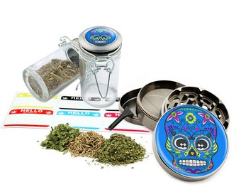 "Sugar Skull - 2.5"" Zinc Alloy Grinder & 75ml Locking Top Glass Jar Combo Gift Set Item # G021615-024"