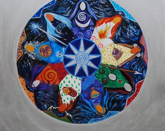 Nine Ladies Goddess Mandala - A3 Print
