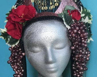 WINE HEADDRESS Mardi Gras inspired, flowers, leaves, grapes and fringe. Glitter and sequins. Made in New Orleans.