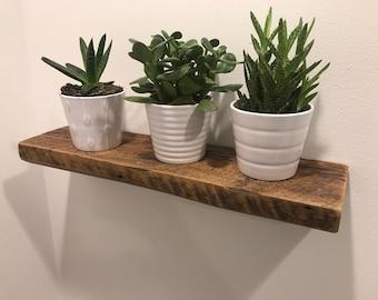 Floating barnwood shelf