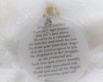 In Memory Angel Feather Ornament I Am An Angel Feather Sent From God Above Personalized Free