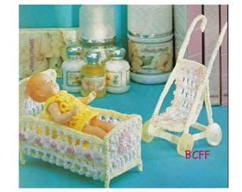 Baby Crib and Stroller Crochet Pattern Vintage Digital Crochet Pattern Instant Download