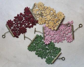 statement cuff bracelet, lace cuff, IONE, victorian bracelet, girlfriend gift, green, wine, purple, mustard, modern bride jewelry, valentine