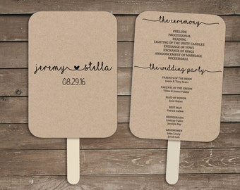 Wedding program fan template, rustic wedding program fan, wedding fan program, wedding program fan printable, wedding program fan kit, print