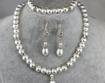 Pearl Bridal jewelry set Pearl Jewelry set Wedding Jewelry set Bridal Back drop necklace Pearl Bridal Necklace Pearl Bridesmaid jewelry set