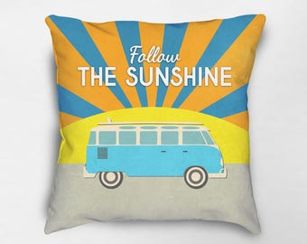 Surf Pillow, Surf Decor, Retro Bus Pillow, Gift for Surfer, Beach Pillow, Retro Pillow, Inspirational Pillow, Motivational Pillow