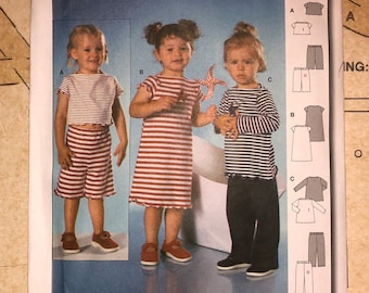 UNCUT Baby Toddlers Clothes Sewing Pattern Size 6M-3 Burda 9855 Top Pants Dress Easy To Sew Jersey Stretch Knit Fabric Elastic Waist Pull On