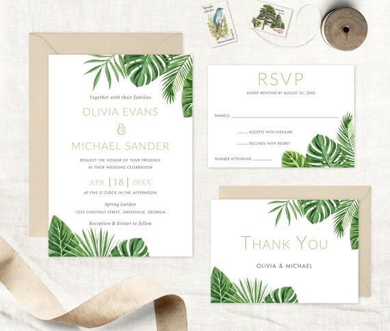 Tropical Wedding Invitation Tropical Leaves Beach Wedding