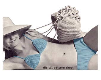 Bikini Crochet Pattern Beach Bag Swimsuit Pattern Bikini Top Instant Download PDF Pattern Women S M L- C61