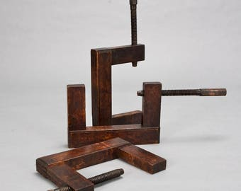 English Late 19th Century Large Wooden C-Clamp [1573]