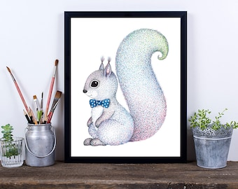 Squirrel Print, Digital Download Art, Nursery Print, Instant Download, Printable Art, Squirrel With Bow Tie Pencil Drawing, Baby Boy Art