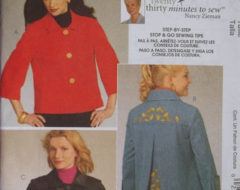 McCall's 5763. Women's cute jacket pattern - sizes 8-16.  A 10-20-30 minute to sew by Nancy Zieman. Pattern is uncut and factory folded.