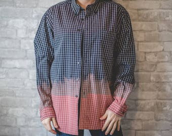Medium blue, white and pink plaid button up
