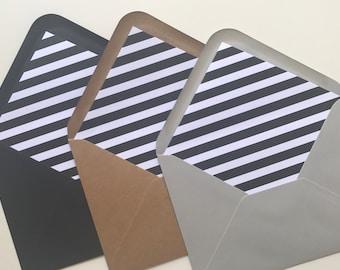 Black & White Striped Envelope Liner - Wedding Envelope - Wedding Stationery