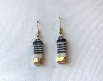 Rectangular ceramic drop earrings with black and white stripes and gold accents, handmade ceramic earrings, handpainted, modern stripes