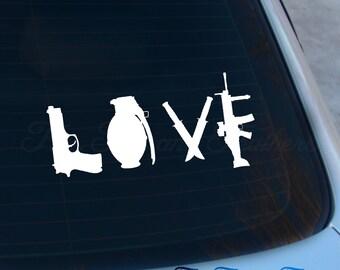 Love Weapons Decal - AR15 Sticker - Guns - Second Amendment - Guns - Macbook - Car Decal
