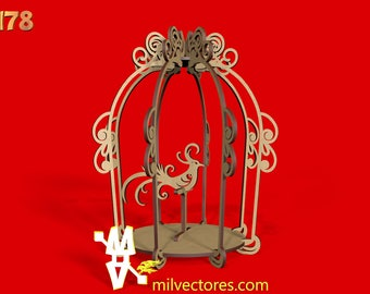 Vector for Laser Cutting Cage Decorative environments