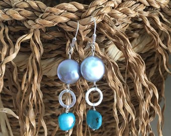AAA Freshwater Pearl, Turquoise and Sterling Silver Earrings - Free U.S. Shipping