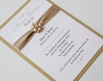 product wedding luxury invitations gold slider ribbon diamond brooch and elegant card organza princess pearlised simply with invite invitation stunning bruge