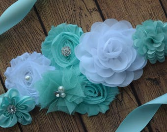 Mint white Sash, #2   ,flower Belt, maternity sash, wedding sash, flower girl sash, maternity sash belt
