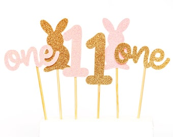 Some Bunny is One Cupcake Topper First Birthday Bunny Birthday Some Bunny is 1 Party Decorations 1st Birthday Decorations Bunny Cupcake