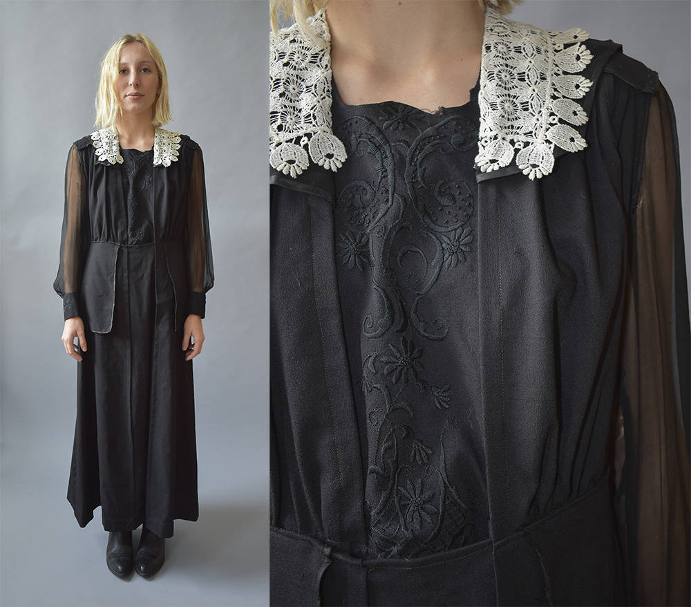 Viktorianischen Kleid Vintage Kleid / antike Kleid schwarz