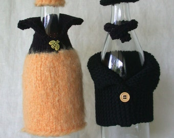 Bee Couple -- Wine Bottle Covers and Hats (wine bottle bling)