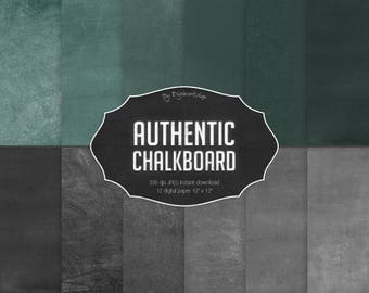 "Chalkboard Digital Paper ""Authentic Chalkboard""  with green, black digital chalkboard backgrounds, chalkboard digital textures"