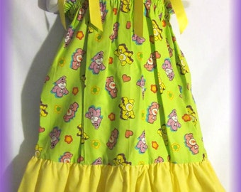 Carebears Boutique Lime Green Pillowcase Dress w/ Yellow Solid Layer