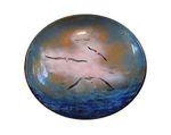 Vintage Nekrassoff Sea Gull Enamel Copper Bowl
