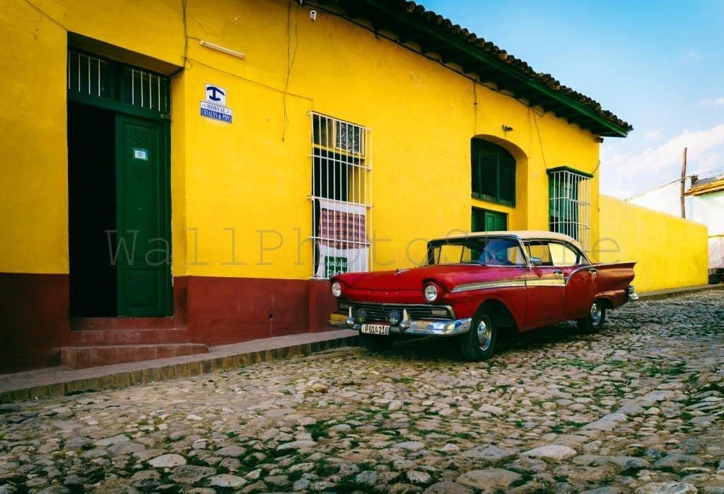 Cuba Photography Red Cuban Car Car Photography Havana