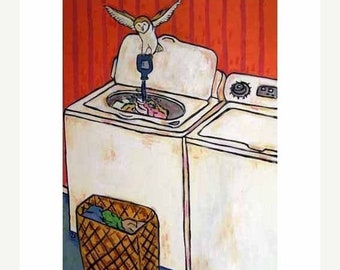 25% off Owl Doing the laundry Art Print
