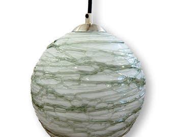 Opal Gray Spun Hand Blown Glass Pendant Hanging Lights  by Rebecca Zhukov