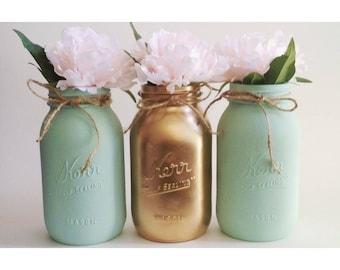 Mint Mason Jars, Mint and Gold, Mint Centerpieces,