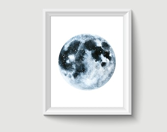 Moon Watercolor Painting Poster Art Print P349