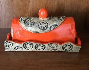 Ready To Ship- Handmade Butter Dish- Orange