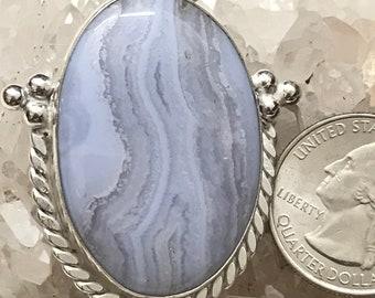 Beautiful Blue Lace Pendant Agate Necklace.