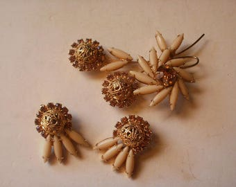 Juliana Beige Navette & Rhinestone Brooch and Earrings Set