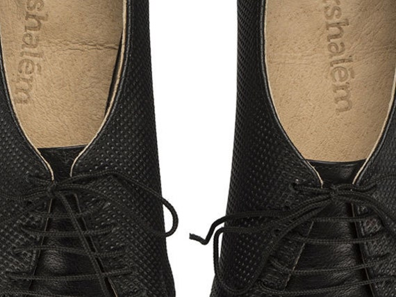 shoes flat leather handmade Shalem by Jean Polly Black Tamar oxford shoes 0qUa1
