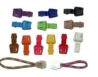 Cord End Pulls for Paracord - Parachute Cord Accessories 12 Colors - Paracord Add On - Zipper Pull - Plastic End - Paracord Tip