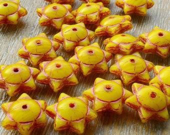 Star Beads, Picasso Beads, Glass Stars, Rustic Beads, Czech Picasso Beads, Czech Beads, Czech Glass Beads, Yellow Beads, 12mm x 6mm, Pk 10