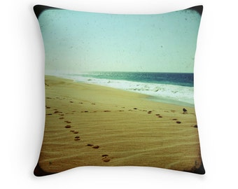 Beach Bliss - Footprints (in the sand, photo throw pillow cushion cover, summer green ocean waves beach photography, Jesus religious art)