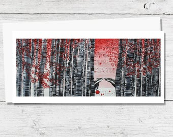 Badgers in Woods - Greetings Card with Typography / Quotation for Animal Lovers