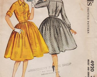 McCalls 4920 / Vintage 50s Sewing Pattern / Shirtwaist Dress / Size 13 Bust 33
